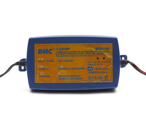 DHC SC015E 12V 1.5AMP Digital Battery Charger and Maintainer (Blue) DHC 12V 지능형 배터리 충전기