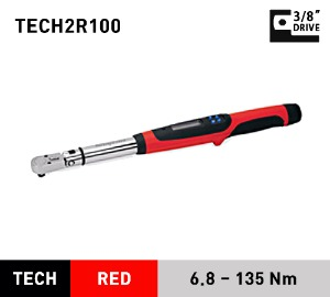"TECH2R100 3/8"" Drive Fixed-Head Techwrench® Torque Wrench (5-100 ft-lb) (6.8–135 Nm) 스냅온 3/8"" 드라이브 디지털 토크렌치 토르크렌치"